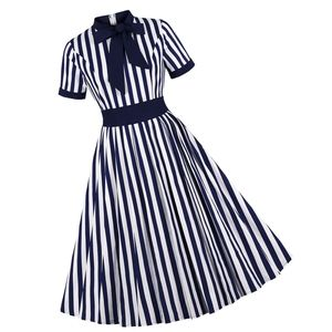 Dresses & Skirts - Goth Stripe Bow Short Sleeve Pin Up Dress